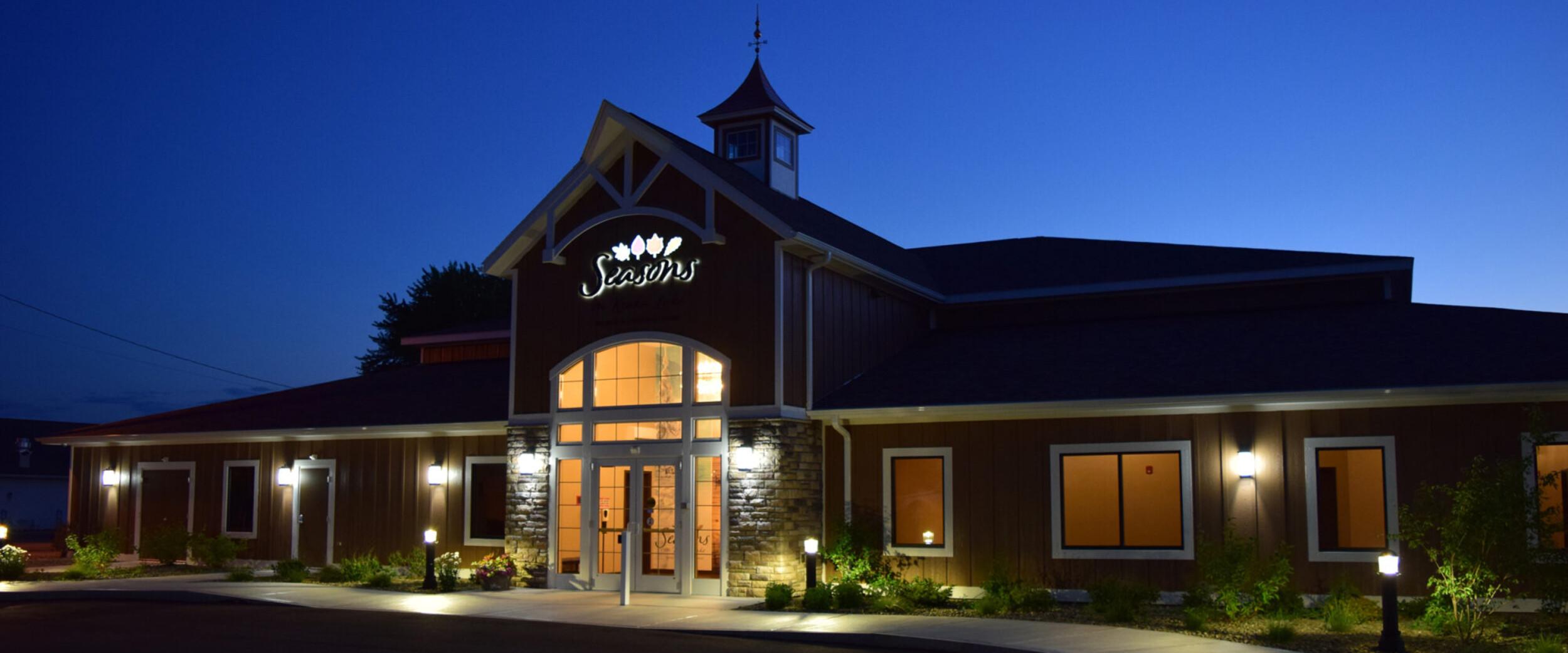 Seasons On Keuka Lake Banquet Conference Center Front Entrance Night